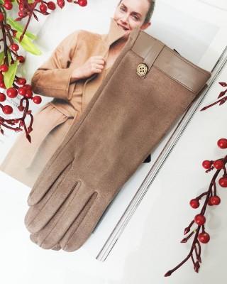 Rękawiczki BUTTON beżowe