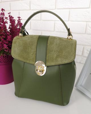 Plecak skórzany zielony